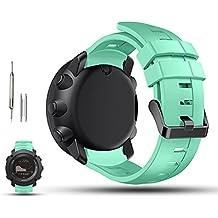 Suunto Ambit 3vertical de repuesto reloj banda correa–ifeeker ajustable suave silicona reloj de pulsera correa de pulsera de repuesto para Suunto Ambit3vertical reloj inteligente con herramienta para quitar/pins, verde