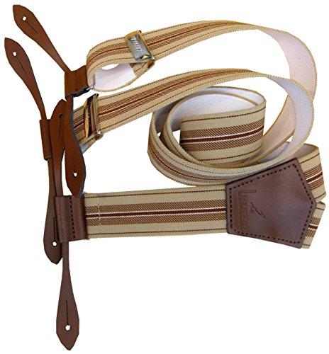 Bretelle a bouton attaches cuir Taille 110 cm réglable Beige
