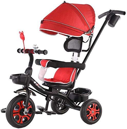WLD Passeggino per bambini 'S Training Vehicle per bambini' Triciclo Comodo passeggino 4 in 1 Triciclo per bambini Passeggino leggero per bici Recinzione protettiva rimovibile Pedale pieghevole,Rosso