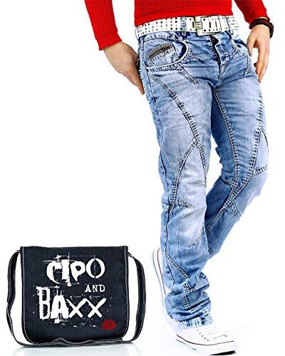 Cipo & Baxx Herren Jeans Denim Biker Streatwear Freizeit-hose Clubwear Bestseller 29W / 32L Blau