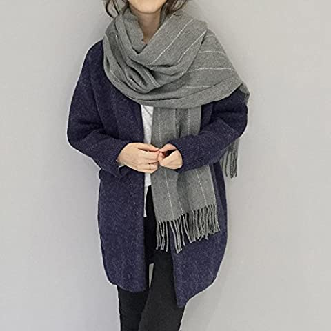 Unisex autunno e inverno caldo finto cachemire frange nappe coppia sciarpa scialle , gray