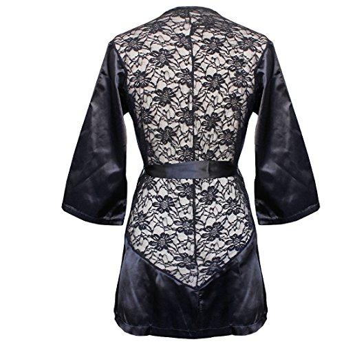 EFE Femme Nuisettes Kimonos Sexy Robe G-String Dentelle Chemise de nuit Pyjamas Noir