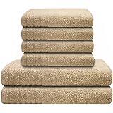 """6 tlg. Handtuchset """"Gallant"""" creme, Qualität 565 g/m², 2 Badetücher / Duschtücher 70 x 140 cm creme und 4 Handtücher 50 x 100 cm creme, 100 % Baumwolle"""