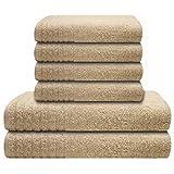 6 tlg. Handtuchset Gallant creme, Qualität 565 g/m, 2 Badetücher / Duschtücher 70 x 140 cm creme und 4 Handtücher 50 x 100 cm creme, 100 % Baumwolle
