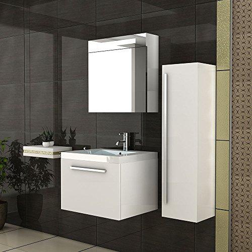 #Waschbeckenunterschrank mit Spiegelschrank / Weiss Badmöbel / Badset / Waschplatz / Badezimmer / Waschbecken / Spiegel#