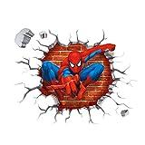Oulique ® 3D-effekt Aufkleber Spiderman im Wanddurchbruch Loch