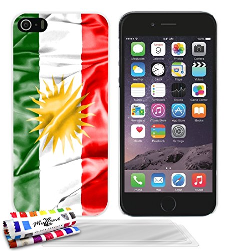 Ultraflache weiche Schutzhülle APPLE IPHONE 5S / IPHONE SE [Flagge Kurdistan] [Schwarz] von MUZZANO + STIFT und MICROFASERTUCH MUZZANO® GRATIS - Das ULTIMATIVE, ELEGANTE UND LANGLEBIGE Schutz-Case für Weiss + 3 Displayschutzfolien