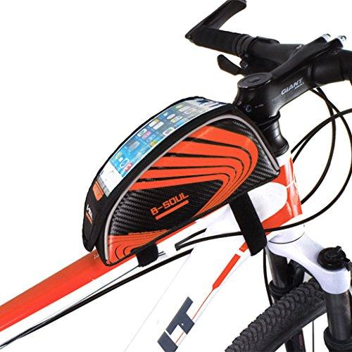 B-SOUL 5.5 Zoll Oxford Gewebe Lenkertasche Tool Bag Fahrradtasche Utensilientasche Radtasche tragbar für Radsport Bergsteigen Camping Trekking Rot