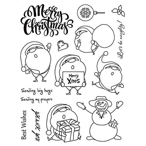 ECMQS Fröhliche Weihnachten DIY Transparente Briefmarke, Silikon Stempel Set, Clear Stamps, Schneiden Schablonen, Bastelei Scrapbooking-Werkzeug -