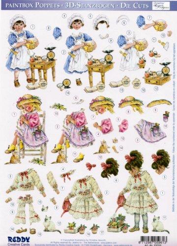 3D-Stanzbogen ca. DIN-A4 - Paintbox Poppets von Christine Haworth, Mädchen beim Backen, Blumenkranz binden und Blumen begießen (83059)