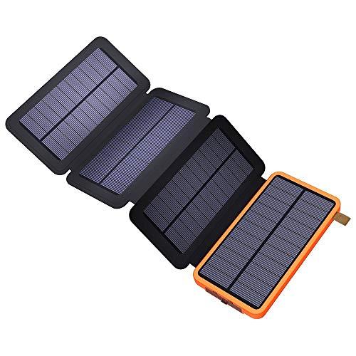 X-DRAGON Solar Ladegerät 10000mAh Solar Powerbank mit Dual USB, 4 Solar Panels, externem Akku für iPhone, Handy, Samsung, iPad, Outdoor, Camping und mehr