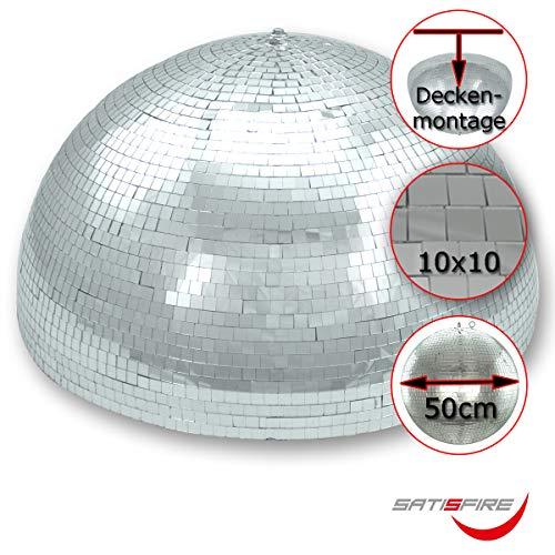 Halb-Spiegelkugel 50cm mit Motor, 10x10mm Facetten - Ideal für Festeinbau in Partyraum bei niedrigen Decken, Mirrorball half (Halbe Umdrehung)