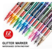 ZEYAR Glitter Paint Pens, Water based, Fine Point, Nylon Tip, 12 Colors, Great for gift card, poster, album, Christmas card and more. Non-Toxic and Safe, Professional Paint Markers Manufacturer