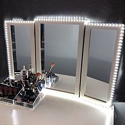 LED Vanity Mirror Lights Kit for Makeup Dressing Table Vanity Set 13ft Flexible LED Light Strip 6000K Daylight White with Dimmer and Power Supply, DIY Hollywood Style Mirror, Mirror not Included - inexpensive UK light store.