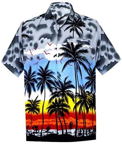 La Leela Likre Blumen Erwachsen Hell Vater Tochter Junge Mädchen Frauen Surfen Groß und Hoch Männer Hawaiihemd m Grau (Aloha Shirt Jungen)
