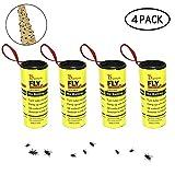 Kobwa 4Pcs Piège de Colle pour Insectes, Sticky Fly Catcher Piège, Fly Catcher ruban, Piège à mouches pour les Moustiques, mites en intérieur ou extérieur - Non Toxique, écologique et hygiénique
