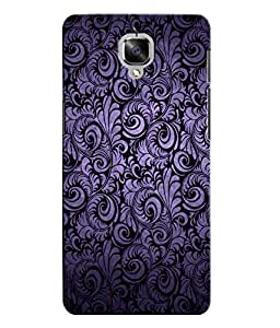 Citydreamz Black Silver Texture Floral Pattern Hard Polycarbonate Designer Back Case Cover For OnePlus 3