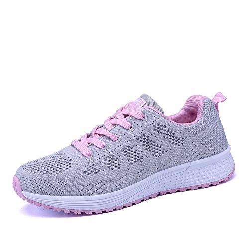 Scarpe Donna da Ginnastica Running Sports Sneaker da Fitness Allacciare Maglia Nero Blu Grigio Bianco Grigio 39