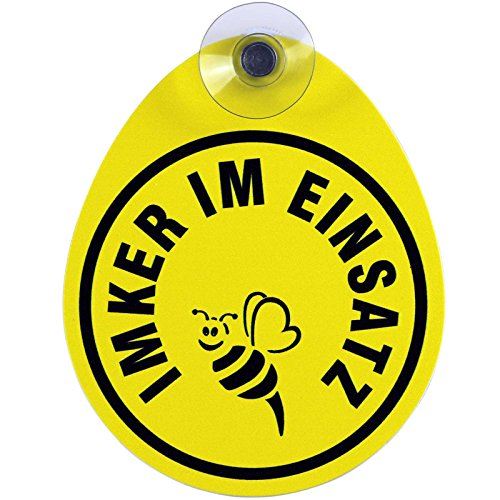 Schild, Autoschild Imker mit Saugnapf, 2mm wetterfestes PVC Material 100 x 120 mm groß, von innen oder außen