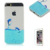 For iPhone 5 5S SE Case 4inch Cover [with Free Screen Protector], Funyye Fashion lovely Lightweight Ultra Slim Anti Scratch Transparent Soft Gel Silicone TPU Bumper Protective Case Cover Shell for iPhone 5/5S/SE - Dolphin swimming