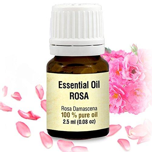 Rosenöl 2,5ml - 100% Ätherisches Rose Öl - Rosa Damascena Bulgarisch - Besten Für Beauty - Wellness - Schönheit - Aromatherapie - Duftlampen - Raumduft - Rosen Öl Von Aromatika