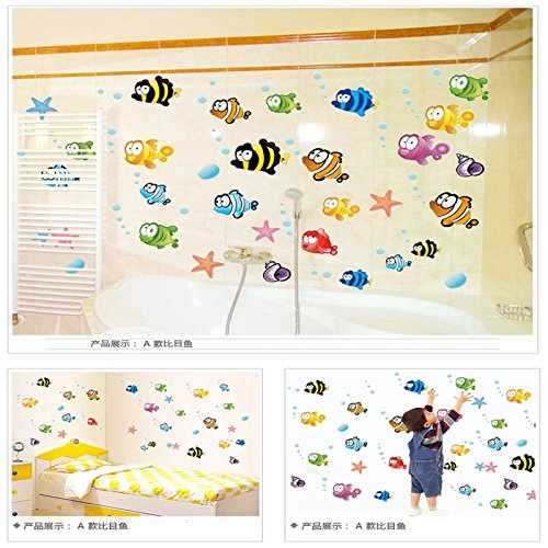 51hmpAnnmhL - Zooarts Ocean Sea Bubble Fishes Removable Space Bathroom Window Wall Sticker Decals Vinyl Decor Children's Room Nursery Mural