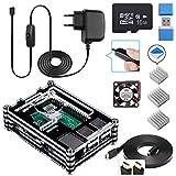Für Raspberry Pi 3 b+ Gehäuse, Smraza Kit für Raspberry Pi 3 b+ mit Netzteil, 3x Kühlkörper, Lüfter und SD-Karte Kompatibel mit Raspberry Pi 3 model b+(Ohne NOOBS System und Raspberry Pi)