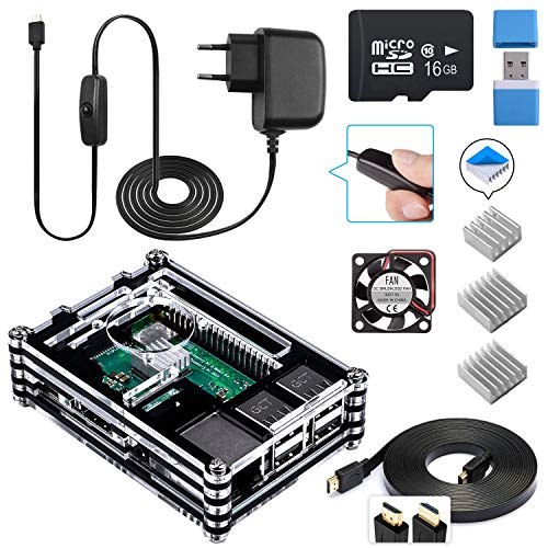 Para Caja Raspberry Pi 3 b+, Smraza Kit para Raspberry Pi 3 b+ con Cargador,...