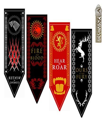 Kostüm Tyrell Game Of Thrones - GTHRONEBAR [45X150CM] 4PCS Garten Flag Flagge, Party Banner Dekorationen Zubehör für for Game Spiel Bar, Throne Thron Schulsport-Event, International Festival Celebration