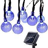 Qedertek Solar Lichterkette Außen 6M 30 LED Kugel Lichterkette 8 Modi Weihnachten Beleuchtung für Garten, Party, Hochzeit, Fester, Weihnachtsbaum Deko