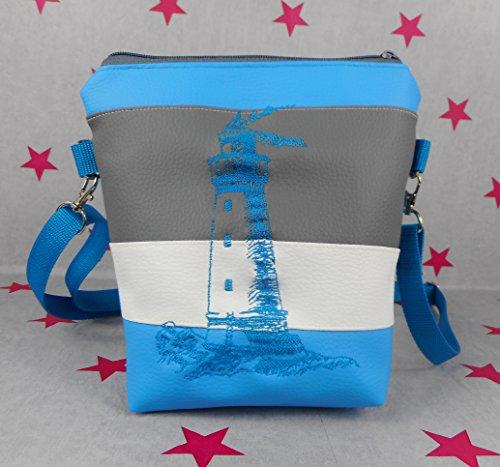 pinkeSterne ☆ Handtasche Umhängetasche Schultertasche Kunstleder Bestickt Stickerei Handmade Maritim Leuchtturm Blau / 6B-UALN-E5DL