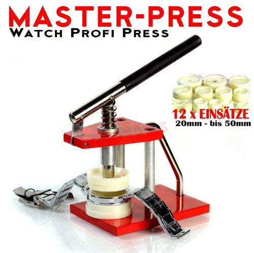 Kar@Kas **Master Press Profi RED * ** Uhren Glas- und Bodeneinsetzzwinge Presse in Profi Qualität mit 12 Einsätze
