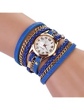 Sannysis Strap Geflochtenes Wickel Niet-Armband-Armbanduhr-blau
