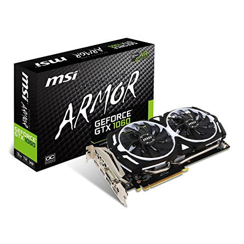 MSI NVIDIA GTX 1060 Armor 3G OCV1 Grafikkarte (HDMI, DP, DL-DVI-D, 2 Slot Afterburner OC, VR Ready, 4K-optimiert) (Grafikspeicher 3gb)