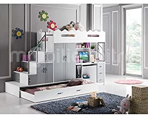 lit mezzanine noa avec 2 matelas enfant. Black Bedroom Furniture Sets. Home Design Ideas