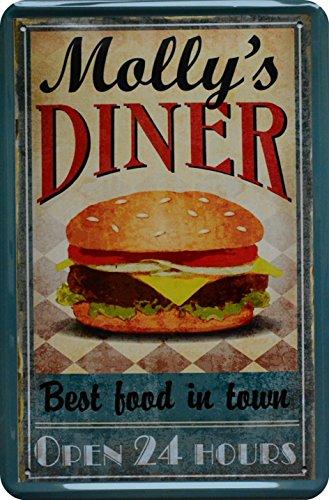 Targa in metallo Molly S Diner Burger 20x 30cm pubblicità retrò latta metal Sign xte3