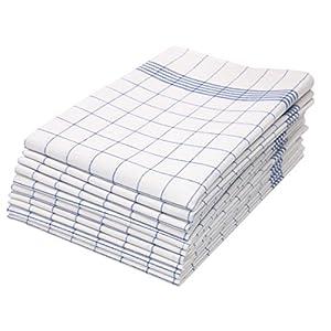 ZOLLNER 10er Set Geschirrtücher, 50x70 cm, 100% Baumwolle, blau kariert