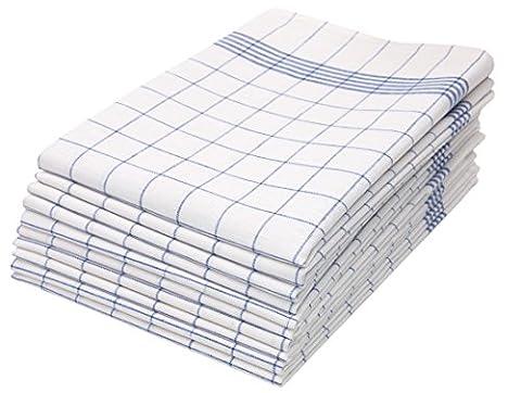ZOLLNER® 10er-Set Geschirrtücher / Trockentuch / Küchentücher blau-weiß-kariert 50x70 cm