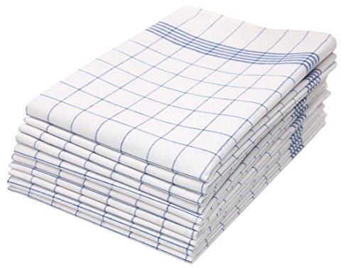 Zollner 10er-Set Geschirrtücher aus Baumwolle, blau-weiß-kariert (weitere verfügbar), 50x70 cm, Serie Kitty
