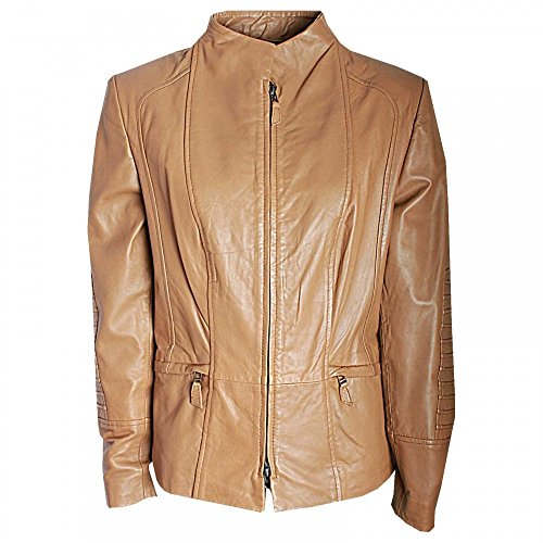Javier Simorra Short Leather Jacket With Pleat Detail Camal