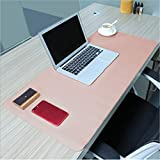 PHIFO Mauspad, groß, 80 x 40 cm, rutschfestes PU-Leder Schreibtischunterlage, ultradünn, 2 mm wasserdichtes Mauspad für Büro, Home-Schreibtische, Gaming-Mauspads, Tastatur-Pads Pink + Silver