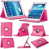 Stuff4 Leather Smart Case with 360 Degree Rotating Swivel Action and Free Screen Protector/Stylus Touch Pen for 8 inch Samsung Galaxy Tab 3 T310/T311 - Deep Pink