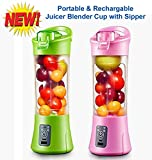 #9: High Quality Portable USB Electric Juicer with Sipper, Blender Drink Bottle & Juicer Cup with Rechargeable 2000 MAH Power Bank & USB Cable Charging (Model: QL-602, 380 ml)