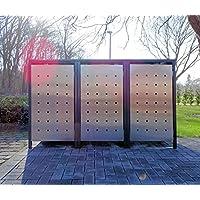BBT@ | Premium Mülltonnenboxen für 3 Tonnen je 120 Liter Grau / Front-Edelstahl/ Vollverzinkte Bleche hochwertig pulverbeschichtet / Fronttür Edelstahl