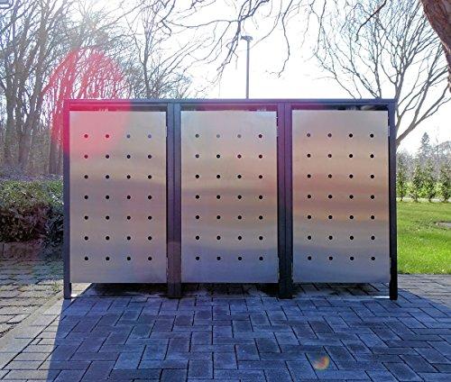 *BBT@ | Premium Mülltonnenboxen für 3 Tonnen je 120 Liter Grau / Front-Edelstahl/ Vollverzinkte Bleche hochwertig pulverbeschichtet / Fronttür Edelstahl*
