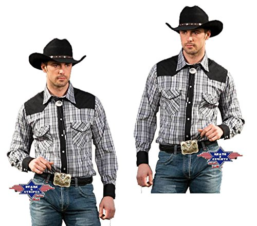 Stars & Stripes Karohemd Brian, Farbe: grau, Gr. L - Large (Country Western Kostüm)