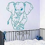 Adesivo murale modello piccolo elefante per la decorazione domestica della camera da letto della scuola materna della parete del vinile Carta da parati modellata dell'elefante sveglio Wm 57x57cm