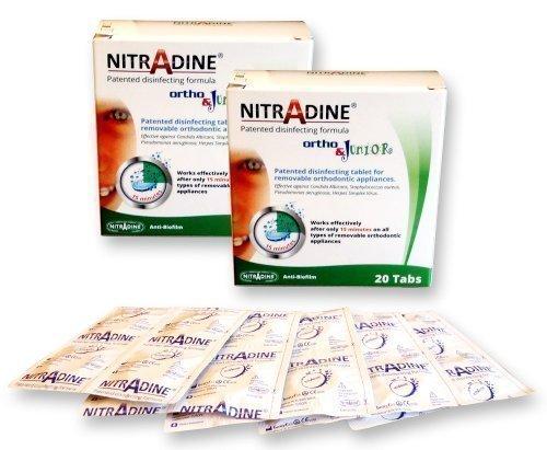 Bleichschienen (2 x Nitradine Ortho Junior Tabletten ~ 2 Packungen, 40 Tabletten für Putz- & Desinfizierend 20 wochen zubehör)