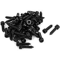 Sourcingmap/® 2/mm x 10/mm Full Gewinde Hex Head selbstschneidenden Schrauben schwarz 100/PCS