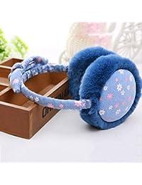 XUERUI Earmuffs Plant Cotton Keep Warm Winter Use 5 colores niñas plegable ( Color : Azul )